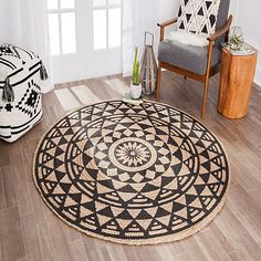 1 Hand Braided Bohemian Colorful Cotton Jute Area Rug Round Rug multi colors Home Decor Rugs Meditation Mat Indian Jute Rug Decorative Rug