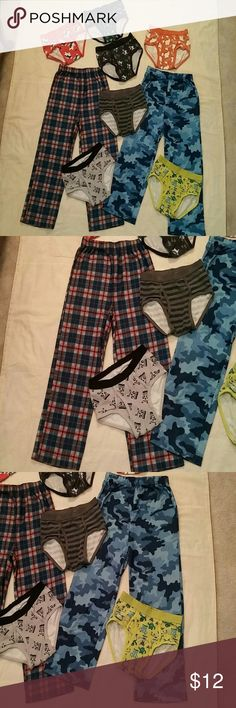 Boys Size 7 Pajama Bottoms Lot Boys size 6/7 pajama bottoms w some piling from normal wash/wear purchased from Avon with 7 Gymboree briefs size m 7/8 in very good condition. Non smoking home. Gymboree Pajamas Pajama Bottoms