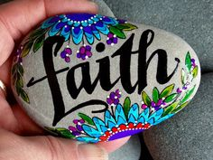 Faith / painted rocks / painted stones / art on stone / words in stone / rocks…