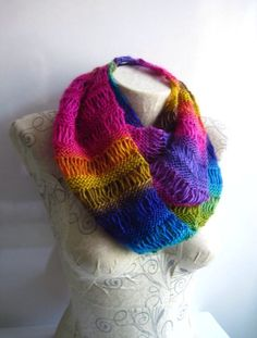Crocheted Scarf in Purple,Green,Blue,Orange,Pink,Crocheted Long Scarf  Rainbow colours by Yellowcrochet on Etsy