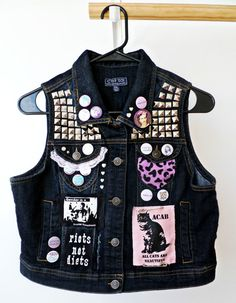 2XL Feminist Vest // Feminist Fist Studded Punk Jacket // Dark Blue Feminist Killjoy Vest