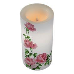 Vintage Climbing Pink Roses Floral Wedding Unity Flameless Candle