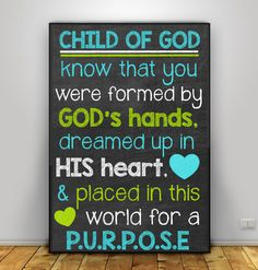 Child of God know that you were formed in God's hands 11x17 Chalkboard Printable Wall Art Nursery Decor Blue Lime Green Baby Boy Shower Gift by DigitalPrintsbyKatie on Etsy https://www.etsy.com/listing/508122041/child-of-god-know-that-you-were-formed