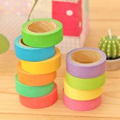 10pc Washi Masking Tape Adhesive Solid Rainbow Colours for ScrapbookingCraft * To view further for this item, visit the image link.