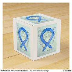 River Blue Awareness Ribbon Angel Party Favor Box