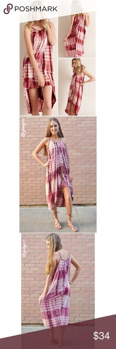 """Boho Chic Tie-Dye Braided Neck Surplice Dress Boho Chic Tie-Dye Braided Neck Surplice Dress iN Red Bean. ONE OF A KIND!   Boutique Label Stunner! Perfect to dress up or down.   Inner dress is 28"""" long. Surplice wrap length 40"""".   Material 95% Rayon 5% Elastane.   *See Attached Size Chart* TRUE TO SIZE. Model is 5'9"""" Tall for Reference. Boutique Dresses High Low"""