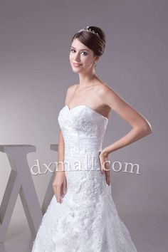 A-line Wedding Dresses Sweetheart Court Train Netting Satin White 010010101474
