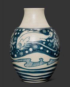 ** Galileo Chini (1873-1956), Glazed Decorated Ceramic Vase.