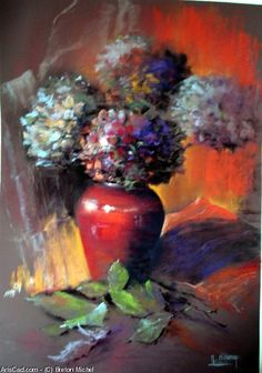 Artwork >> Breton Michel >> hydrangeas Pastel Drawing, Pastel Art, Art Floral, Hydrangea, Still Life, Art Drawings, Photos, Soft Pastels, Painting