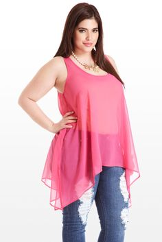 Some looks deserve to be first in line, like this flowing sleeveless top, boasting saturated color and a chic tunic-style cut. Long handkerchief hem creates flattering lines and balances out the tailored sleeveless top, playing peek-a-boo in back with two alluring cutouts. Pair with a gold collar or pendant necklace and neutral heels and you're breezing through those velvet ropes.