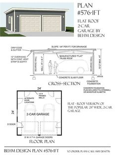 Two Car Garage With Flat Roof Plan x by Behm Design (Shed Plans Fireplaces) Flat Roof Shed, Run In Shed, Carport Garage, Two Car Garage, Garage Parking, Garage Plans Free, Garage Ideas, Shed Plans, House Plans