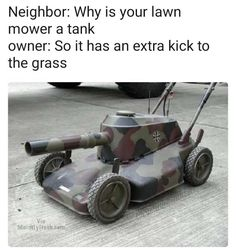 Do you have a problem with storing your own lawn mower? For the reason that Dankest Memes, Funny Memes, Man Humor, Lawn Mower, Really Funny, Picture Quotes, Tractors, Outdoor Power Equipment, Funny Pictures