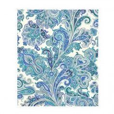 Rideau bleu prêt à poser tissu Hippy Thevenon