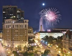 How perfect of a picture is this? Fireworks, a full moon, downtown Saint Paul, energy, excitement, and, oh yeah...The Saint Paul Hotel!