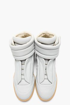 MAISON MARTIN MARGIELA Light Grey Leather Future High-Top Sneakers