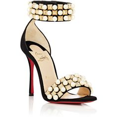 Christian Louboutin Women's Tudor Bal Sandals ($1,195) ❤ liked on Polyvore featuring shoes, sandals, open toe high heel sandals, open toe sandals, wide sandals, ankle tie sandals and red sole shoes