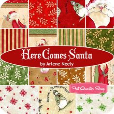 Here Comes Santa Yardage Arlene Neely of Rabbits Haven for Red Rooster Fabrics Christmas Fabric, Christmas Ornaments, Red Rooster, Fat Quarter Shop, Here Comes, Charm Pack, Fat Quarters, Rabbits, Santa