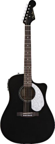 Fender Acoustic Guitar. Fender Sonoran SCE Dreadnought Acoustic-Electric Guitar, Black.