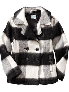 Cutest Girls Buffalo-Plaid Pea Coat | Old Navy