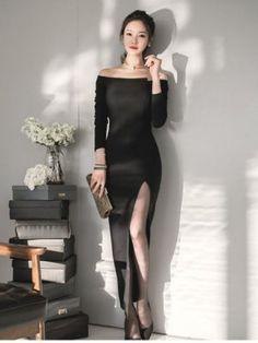 Korean Style Boat Neck Thigh Slits Sexy Dress Tight Dress