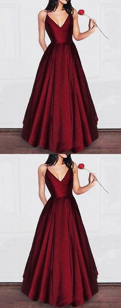 Burgundy v neck satin long prom dress buy here: 24prom
