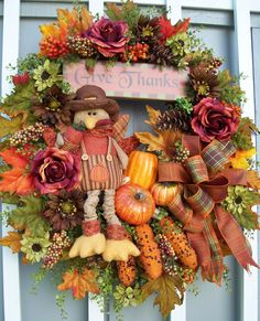 Thanksgiving wreath for fall and autumn decor.  http://www.timelessfloralcreations.com/