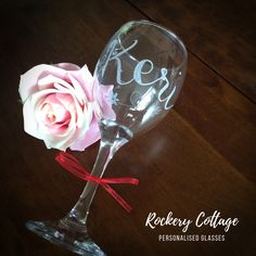 Pyrography Engraving & Digital Hand-Lettering & Design by RockeryCottage Personalised Glasses, Personalised Gifts, Lettering Design, Hand Lettering, Wine Glass, Glass Art, Pyrography, Hand Engraving, Etsy Seller