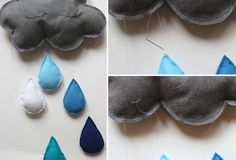 Since we love clouds so much, I thought I would share the cloud mobile I made for Mima's room.  You will need:  Felt for cloud and raindr...