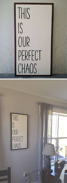 "This sign is perfect for my loud, chaotic, wild, loud house. With 3 kiddos, the house is chaotic, but wouldn't have it any other way! This is our perfect chaos wood sign 16x32"", rustic sign, rustic decor, farmhouse sign, farmhouse decor, living room decor, home decor #ad"