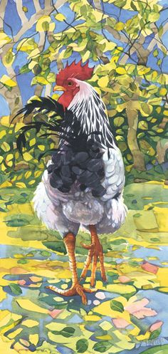 Lovely interwoven patterns and color. Great interpretation of dappled sunlight. Cool looking rooster, too! Mary Ann Rogers