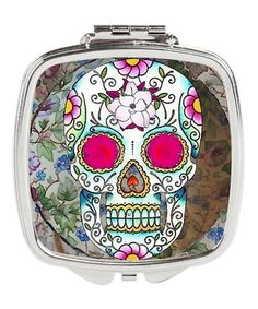 Look what I found on #zulily! White & Pink Floral Sugar Skull Compact Mirror #zulilyfinds
