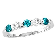 1/2 CT. T.W. Alternating Enhanced Blue and White Diamond Five Stone Anniversary Band in 14K White Gold - Zales