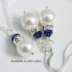 White Pearl Jewelry Set Navy Jewelry Set Bridesmaid Gift Dark Blue Necklace and Earring Set http://www.etsy.com/listing/111110632/white-pearl-jewelry-set-navy-jewelry-set?ref=sr_gallery_20_search_query=Jewelry_view_type=gallery_ship_to=MK_page=3_search_type=all