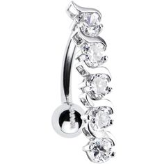 Solid 14KT White Gold TOP DROP Cubic Zirconia DELIGHT Belly Ring | Body Candy Body Jewelry