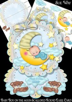 A really cute card for a new baby boy or babies 1st Birthday. Includes a baby boy asleep on a cute moon surrounded by stars, on a scalloped round easel card topper. The base has two little bear asleep on clouds. This unusual design is simple to make, but looks so effective & folds flat for posting. Mini Kit includes 2 design sheets. The first has the easel card base & simple instructions & the second has decoupage layers & 2 sentiment tag clouds to use as the easel stopper. Tag greeting is…