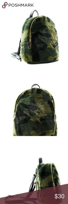 "Camo Fashion Fur Backpack Material:Faux Leather  Size: 8 ""L X 4 ""D X 9 ""H  *Fashion Faux Fur Camo Backpack *Zip Around Closure *Inside Zipper + Open Pocket *Adjustable/Detachable Shoulder Straps Bags Backpacks"