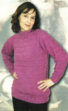 Knit a sweater filled with texture! This beautiful women's pullover sweater knitting pattern features rows and rows of texture after texture! All Free Knitting, Easy Scarf Knitting Patterns, Jumper Patterns, Pullover Sweaters, Knit Sweaters, Knit Crochet, Chrochet, Knit Jacket, Crochet Clothes