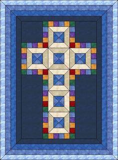 (7) Name: 'Quilting : Jewel Cross-Christening Quilt-mltpl sz