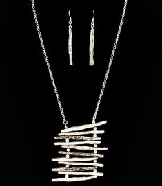 ABSTRACT LADDER NECKLACE & EARRINGS SET ASYMMETRICAL STATEMENT ANTIQUE SILVER #Unbranded #Statement