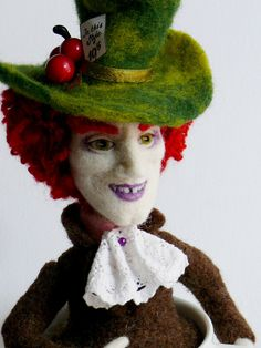 OOAK needle felted doll Wonderland Mad Hatter by Bea of FforFelt on Etsy