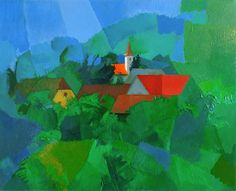 Sveta Jana village original oil painting on canvas by PetarSalic, $500.00