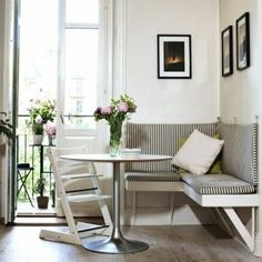 55 Stunning Small Dining Room Table Furniture Ideas - Page 14 of 56 Dining Room Corner, Kitchen Corner, Dining Nook, Dining Room Design, Dining Room Table, Nook Table, Small Dining Rooms, Dining Table Small Space, Table Stools
