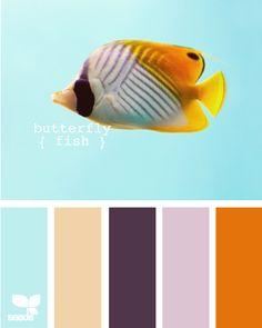 sky blue, ivory, plum, lavender and burnt orange