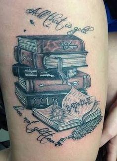 Resultado de imagem para stack of books tattoos