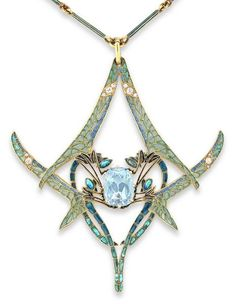 RENÉ LALIQUE | An important Rene Lalique dragonfly pendant, the pendant set to the centre with a cushion-shaped aquamarine, within an open framework of four opposing dragonflies decorated with plique-a-jour enamel wings, embellished with circular- and rose-cut diamonds, to a green enamel baton link chain, measuring approximately 520mm in length, signed Lalique, with original fitted case by R.Lalique, 40.Cours, La Reine, Paris