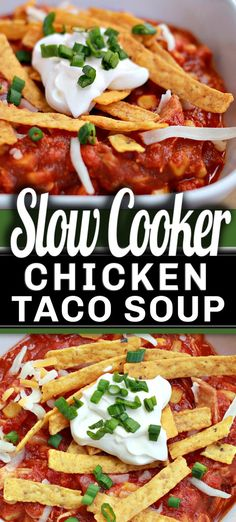 I love this creamy SLOW COOKER CHICKEN TACO SOUP recipe! Since our days have turned colder, it's so comforting and with such a great taste! It's hearty, full of flavour and kid-approved! Slow Cooker Chicken Tacos, Slow Cooker Pasta, Chicken Taco Soup, Slow Cooker Recipes, Crockpot Recipes, Chicken Recipes, Veggetti Recipes, Best Comfort Food, Comfort Foods