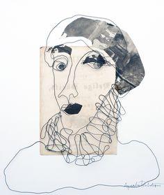 Mixed media. Steel wire portrait. Paper collage. Bea. 50x50 cm.