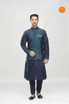 Manyavar stylish blue Kurta