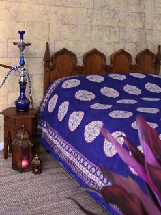 Sultans Palace ~ Purple Blue Moroccan Vintage King Bedspread