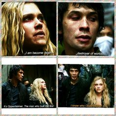 "Bellarke moment from episode10.This whole exchange just struck me as funny, and I loved it. She kind of thinks out loud, he gives her an ""okay...?"" look, and then when she starts backtracking, he's like, ""Yeah,I got the reference. I'm not an idiot."" 